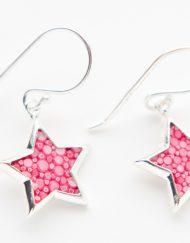 Sterling zilveren oorbellen met roos roggenleer