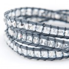 Grijs lederen armband met crystal