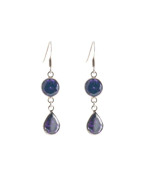 Sterling zilver oorbellen met paars crystal