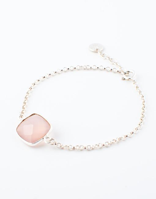 Sterling zilver armband met rozenkwarts