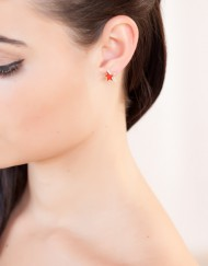 Sterling zilver oorbellen met oranje roggenleer