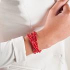 rood lederen armband met crystal