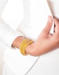 geel lederen armband met crystal